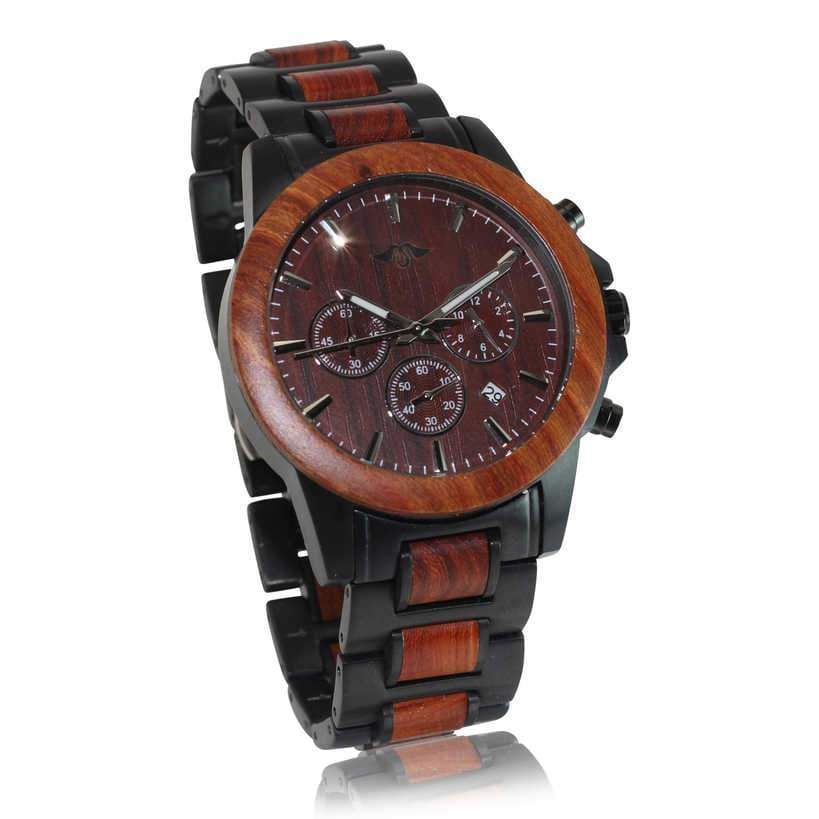 angiewoodcreations Wood watch Not engraved Angie Wood Creations Black Stainless Steel and Red Sandalwood Men's Watch