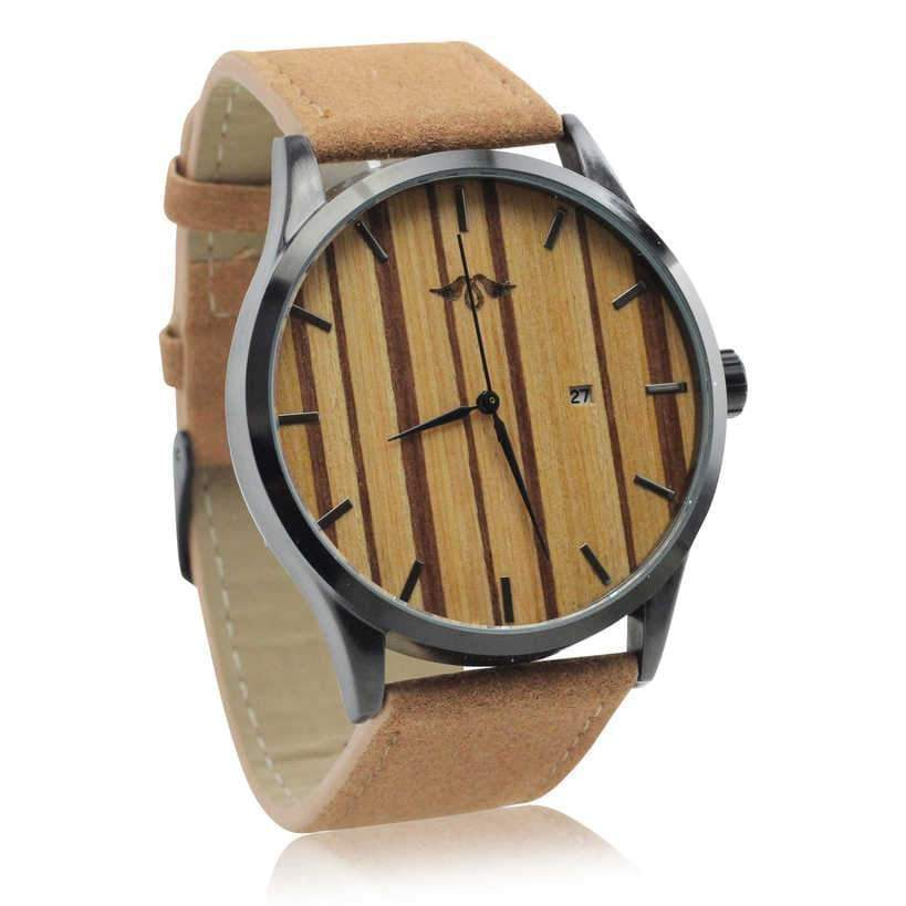 Angiewoodcreations Wood watch Not engraved Angie Wood Creations Black Stainless Steel Men's Watch With Zebrawood Dial