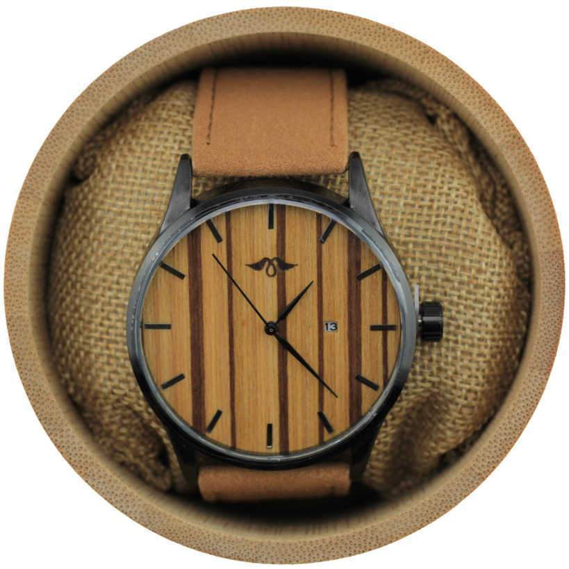 Angie Wood Creations Black Stainless Steel Men's Watch with Zebrawood Dial