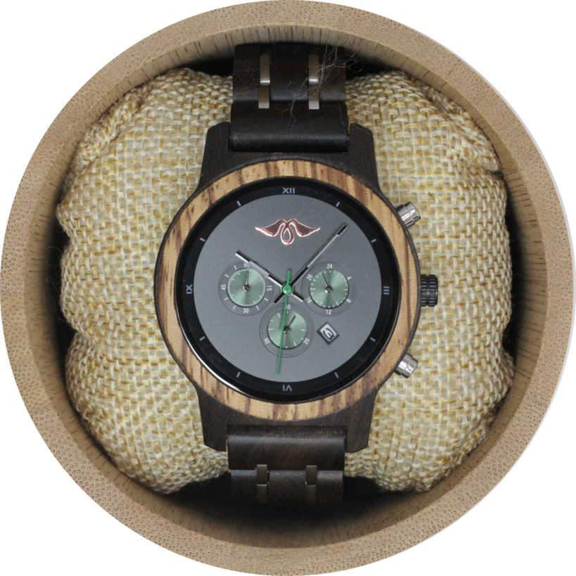 Angie Wood Creations Dark Sandalwood and Stainless Steel Women's Watch