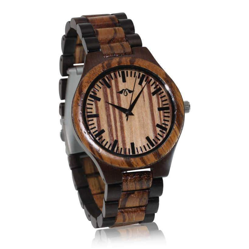 angiewoodcreations Wood watch Not Engraved Angie Wood Creations Dark Sandalwood and Zebrawood Men's Watch