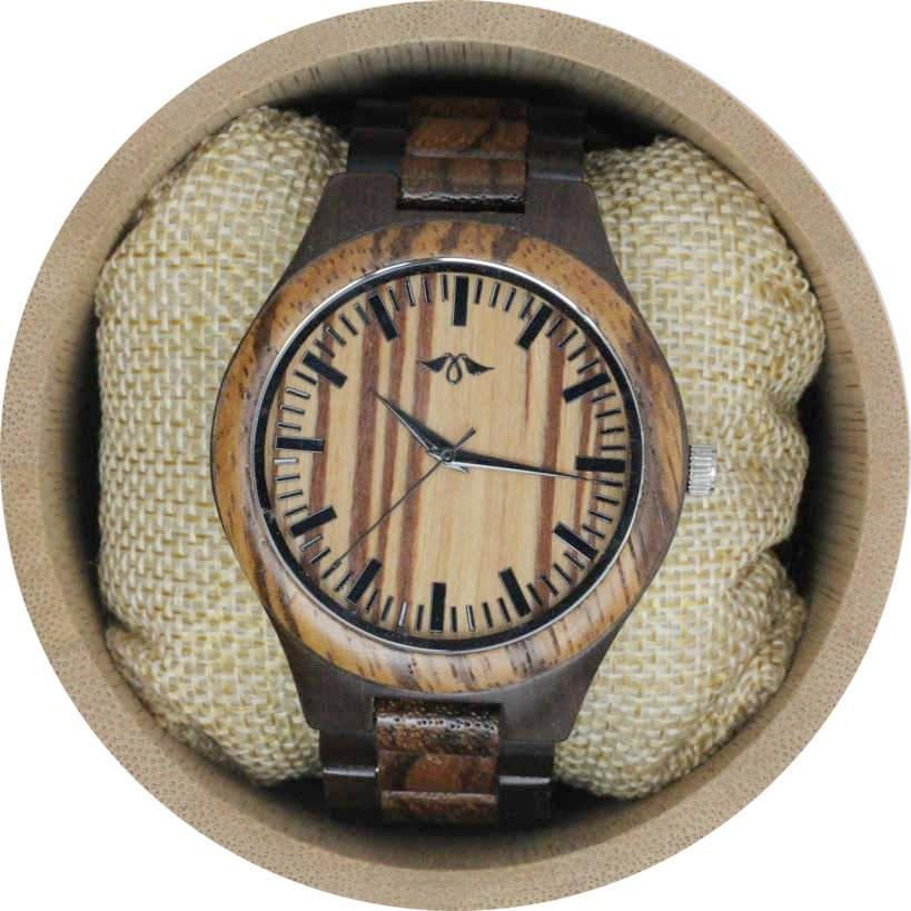 Angie Wood Creations Dark Sandalwood and Zebrawood Men's Watch