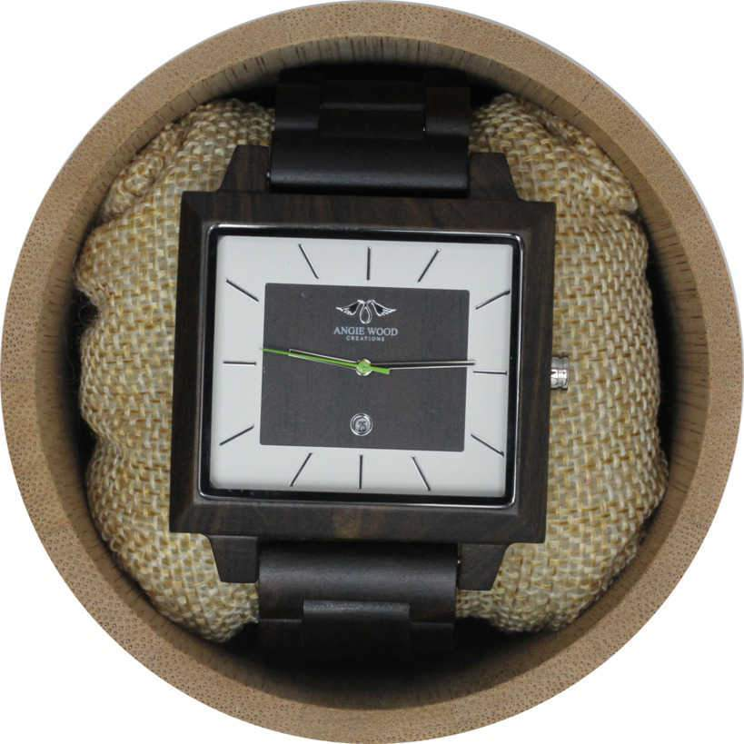 Angie Wood Creations Dark Sandalwood Men's Square Watch With Matching Dial