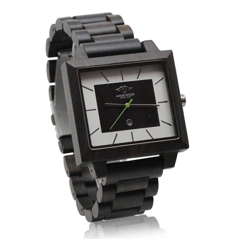 angiewoodcreations Wood watch Not engraved Angie Wood Creations Dark Sandalwood Men's Square Watch With Matching Dial