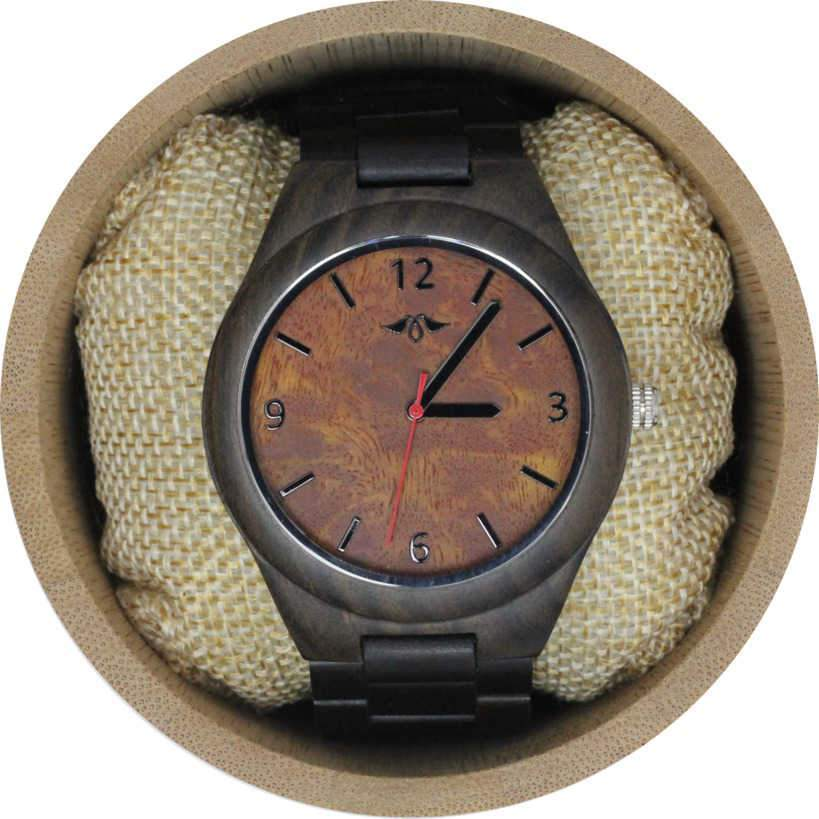 Angie Wood Creations Dark Sandalwood Men's Watch With Dark Sandalwood Bracelet