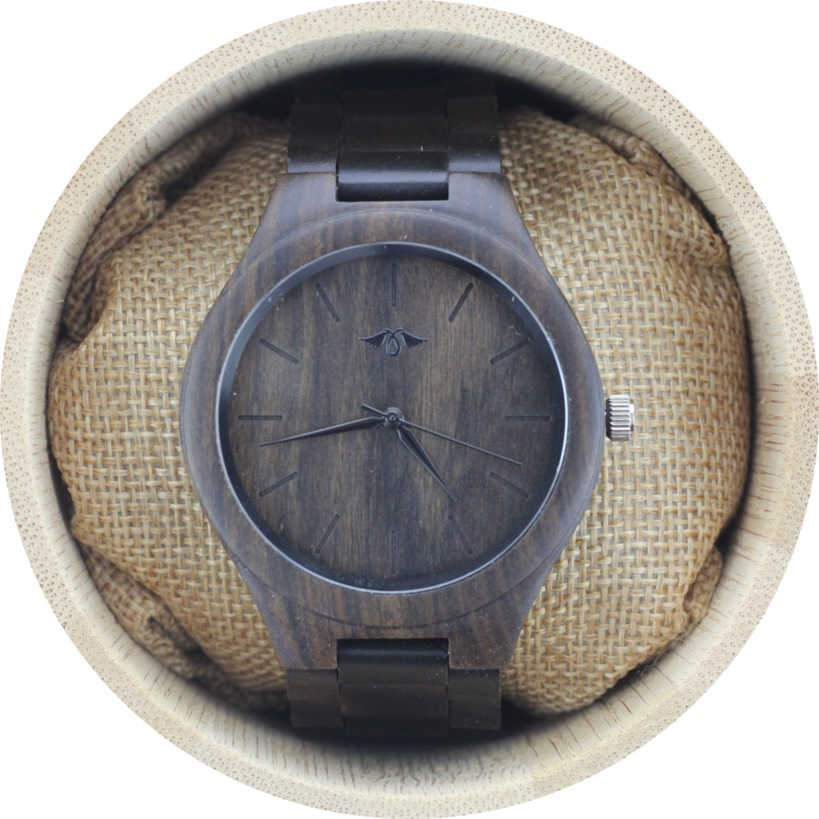 Angie Wood Creations Dark Sandalwood Men's Watch With Matching Bracelet