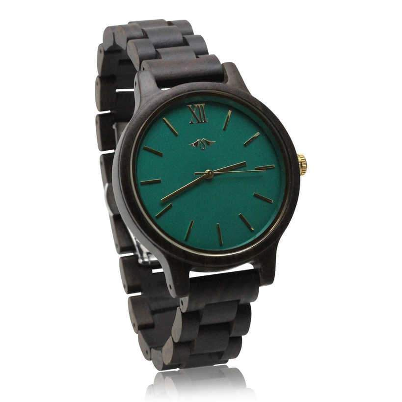 angiewoodcreations Wood watch Not engraved Angie Wood Creations Dark Sandalwood Men's Watch With Teal Dial