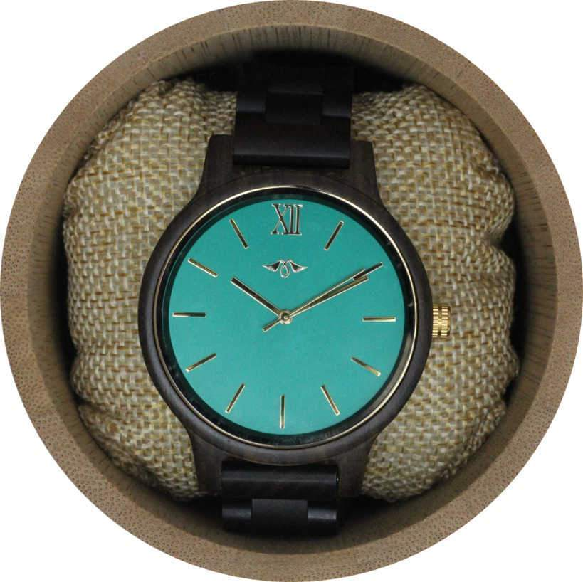 Angie Wood Creations Dark Sandalwood Men's Watch With Teal Dial