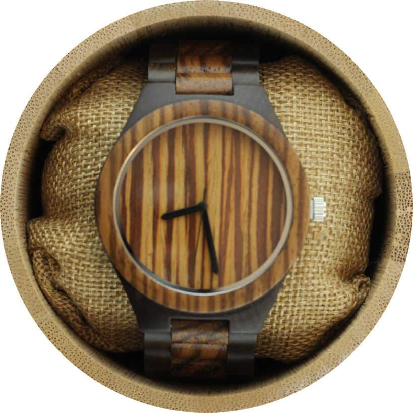 Angie Wood Creations Dark Sandalwood Men's Watch with Zebrawood Bezel and Dial