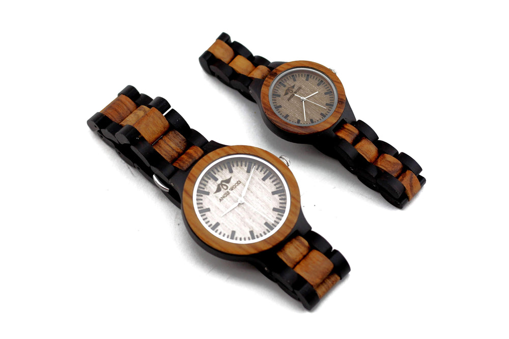 Angie Wood Creations Ebony and Zebrawood Couple's Watch With Black Markers W159,W081