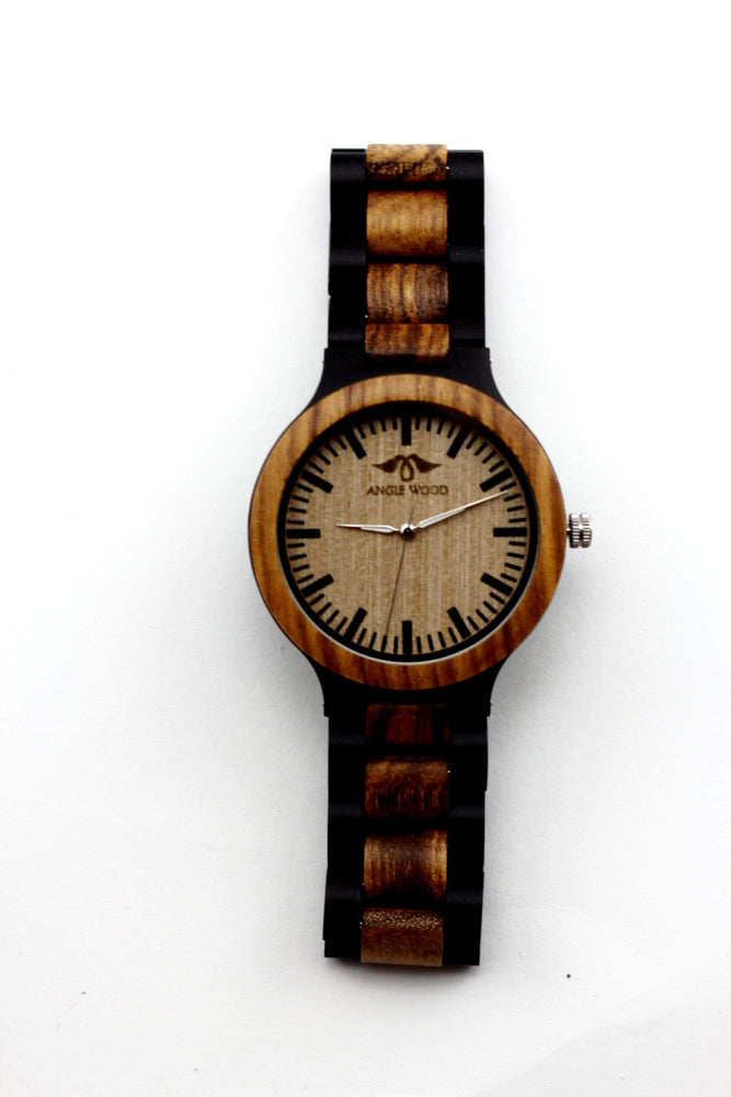 Angiewoodcreations Wood watch Not engraved Angie Wood Creations Ebony and Zebrawood Men's Watch With Black Markers