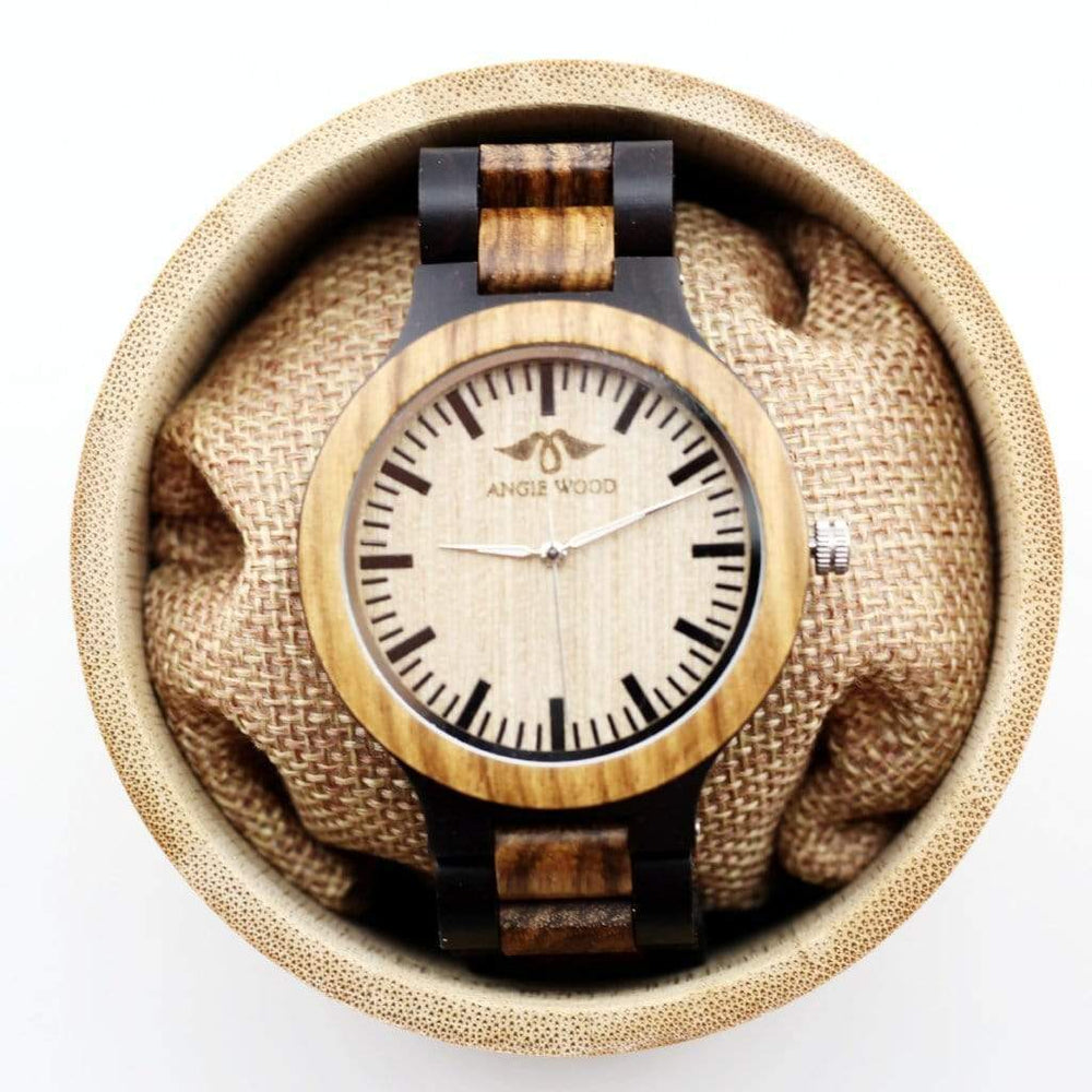 Angie Wood Creations Ebony and Zebrawood Men's Watch With Black Markers