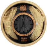 Angie Wood Creations Ebony and Zebrawood Men's Watch with Matching Bracelet