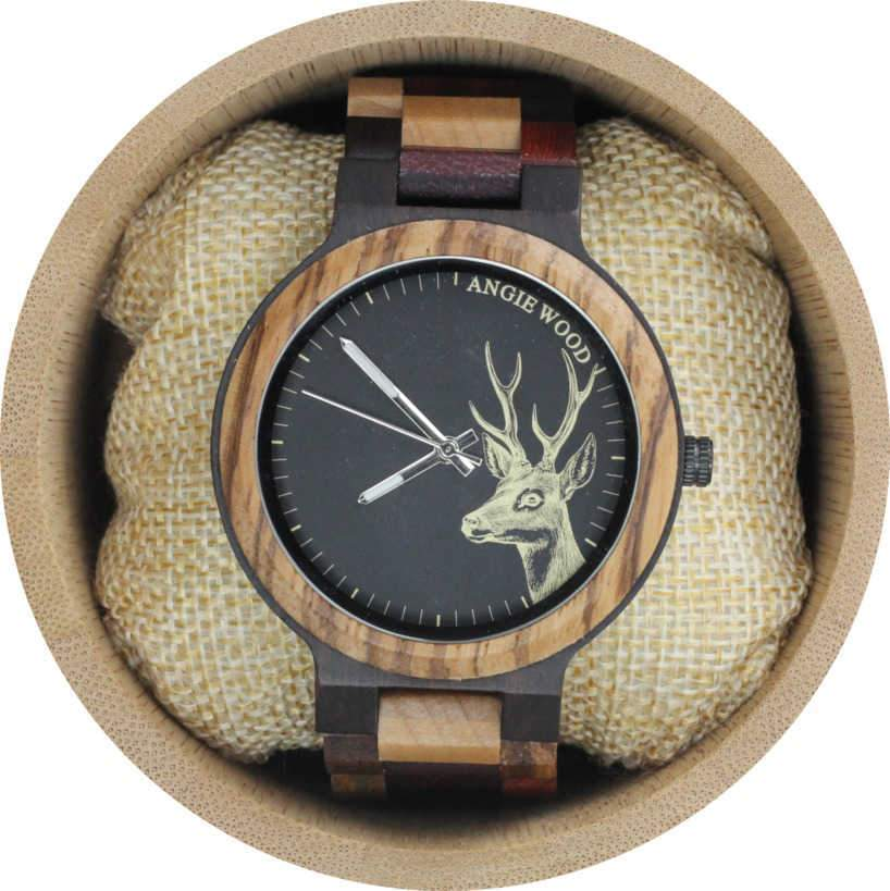 Angie Wood Creations Ebony and Zebrawood Men's Watch With Multi-wood Bracelet