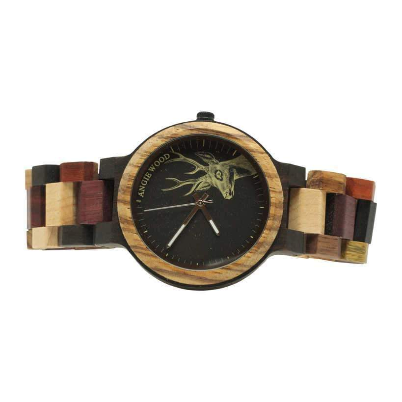 Angiewoodcreations Wood watch Not engraved Angie Wood Creations Ebony and Zebrawood Men's Watch With Multi-wood Bracelet