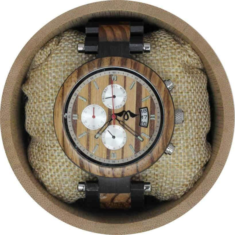 Angie Wood Creations Ebony and Zebrawood Men's Watch With Zebrawood Dial