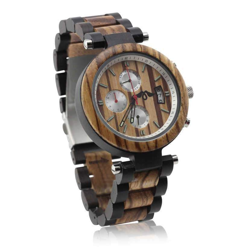 angiewoodcreations Wood watch Not engraved Angie Wood Creations Ebony and Zebrawood Men's Watch With Zebrawood Dial