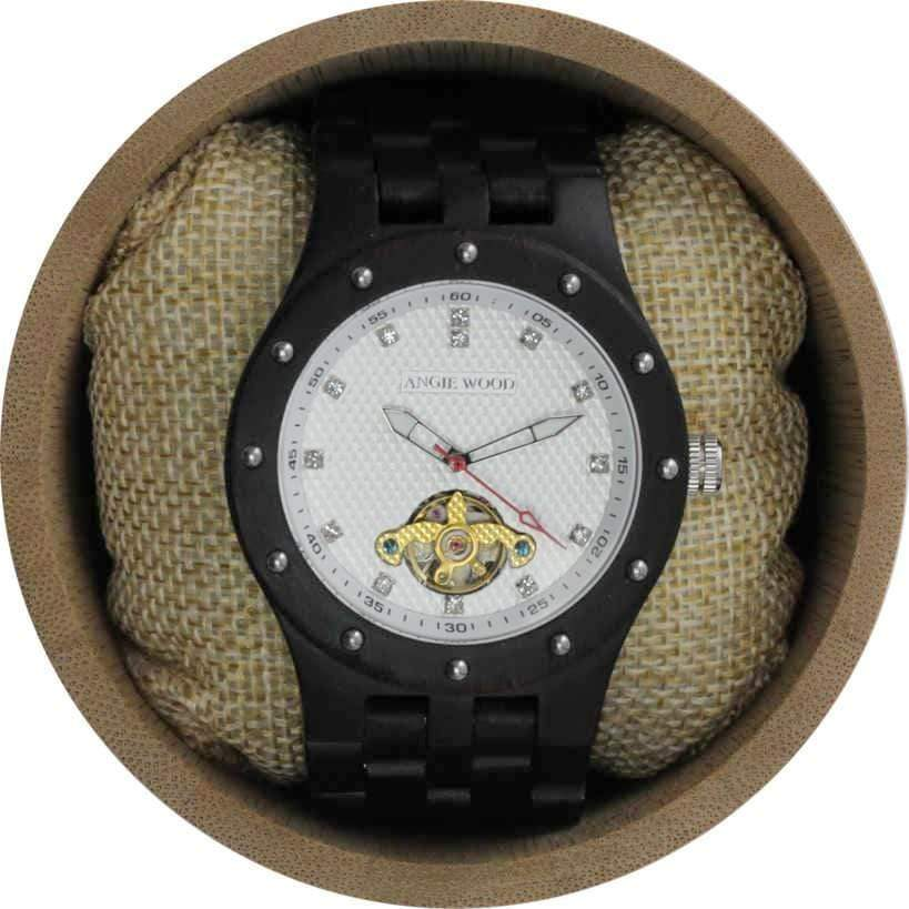 Angie Wood Creations Ebony Men's Self-Winding Watch With Textured White Dial