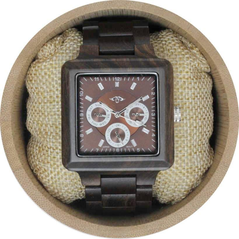 Angie Wood Creations Ebony Men's Square Watch With Ebony Bracelet and Dial