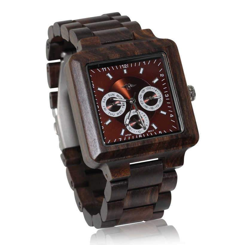 angiewoodcreations Wood watch Angie Wood Creations Ebony Men's Square Watch With Ebony Bracelet and Dial
