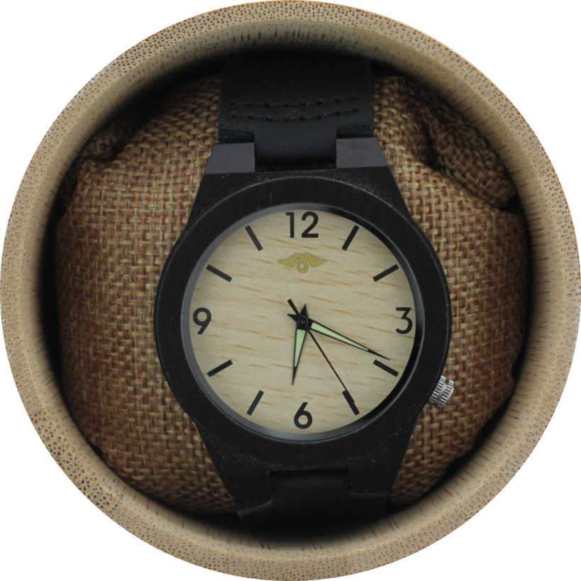 Angie Wood Creations Ebony Men's Watch with Bamboo Dial and Leather Strap