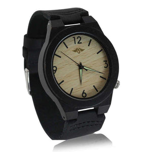 Angiewoodcreations Wood watch Not engraved Angie Wood Creations Ebony Men's Watch with Bamboo Dial and Leather Strap