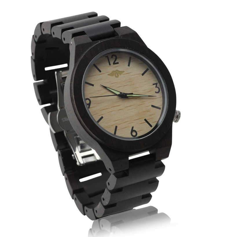 Angiewoodcreations Wood watch Not engraved Angie Wood Creations Ebony Men's Watch with Bamboo Dial and Luminous Hands
