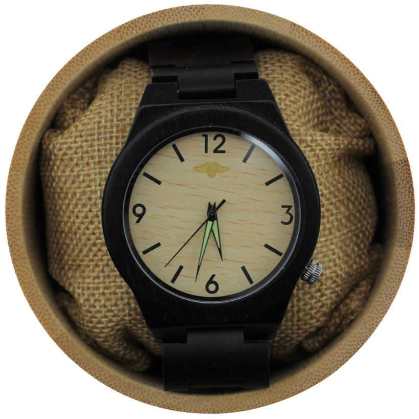 Angie Wood Creations Ebony Men's Watch with Bamboo Dial and Luminous Hands