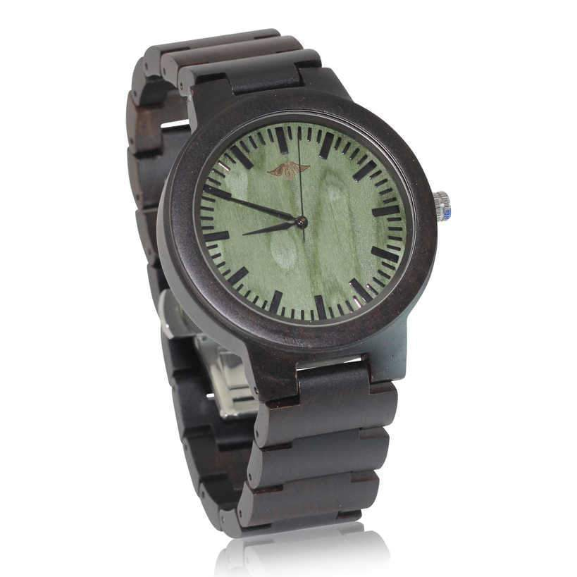Angiewoodcreations Wood watch Not engraved Angie Wood Creations Ebony Men's Watch With Green Sandalwood Dial