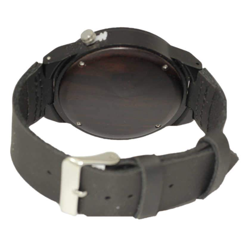 Angiewoodcreations Wood watch Not engraved Angie Wood Creations Ebony Men's Watch With Laser Cut Antlers and Leather Strap