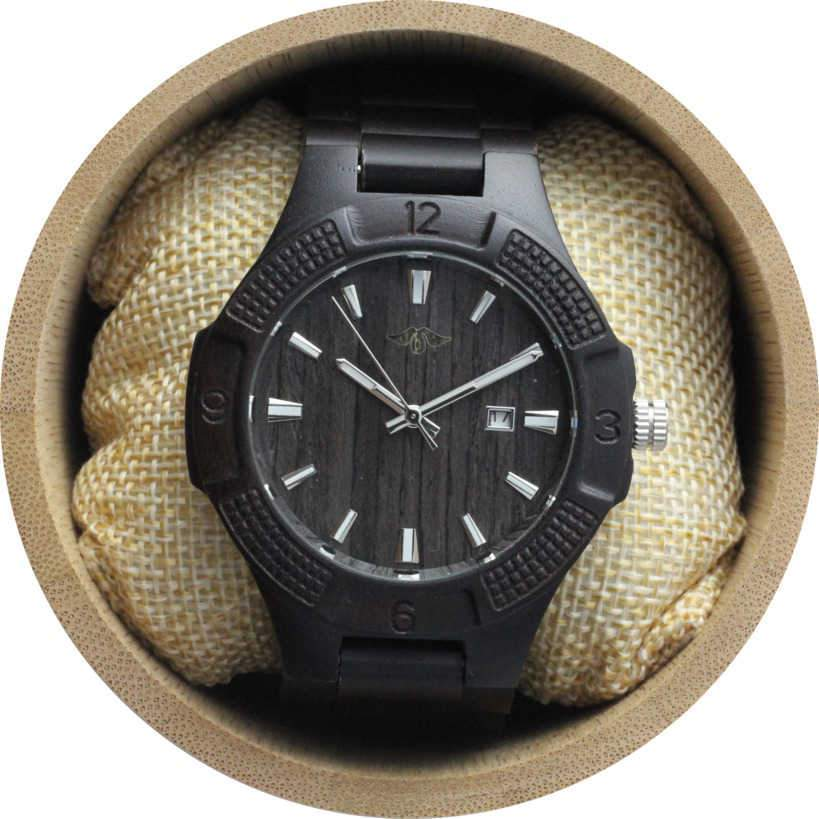 angiewoodcreations Wood watch Not engraved Angie Wood Creations Ebony Men's Watch with Matching Ebony Bracelet and Dial
