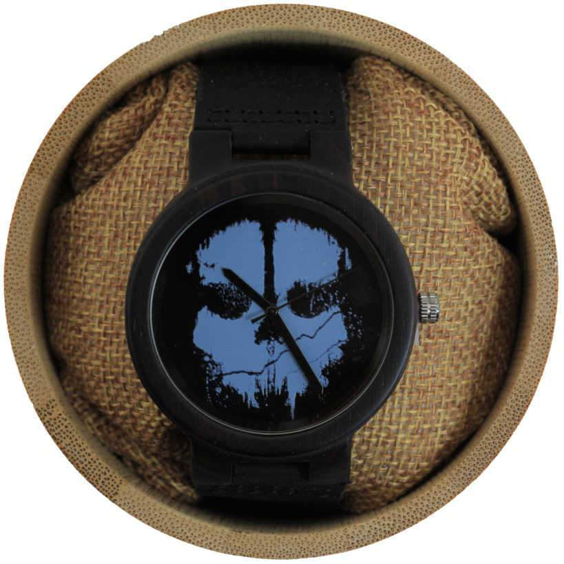 Angie Wood Creations Ebony Men's Watch With Skull-Embellished Dial