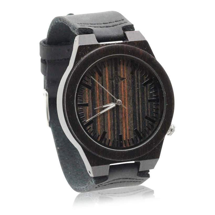 Angiewoodcreations Wood watch Not engraved Angie Wood Creations Ebony Men's Watch with White Hands and Zebrawood Dial
