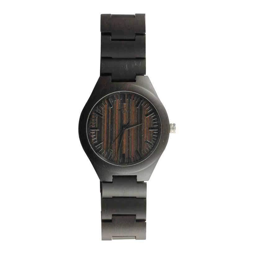 Angiewoodcreations Wood watch Not engraved Angie Wood Creations Ebony Men's Watch With Zebrawood Dial and Ebony Bracelet