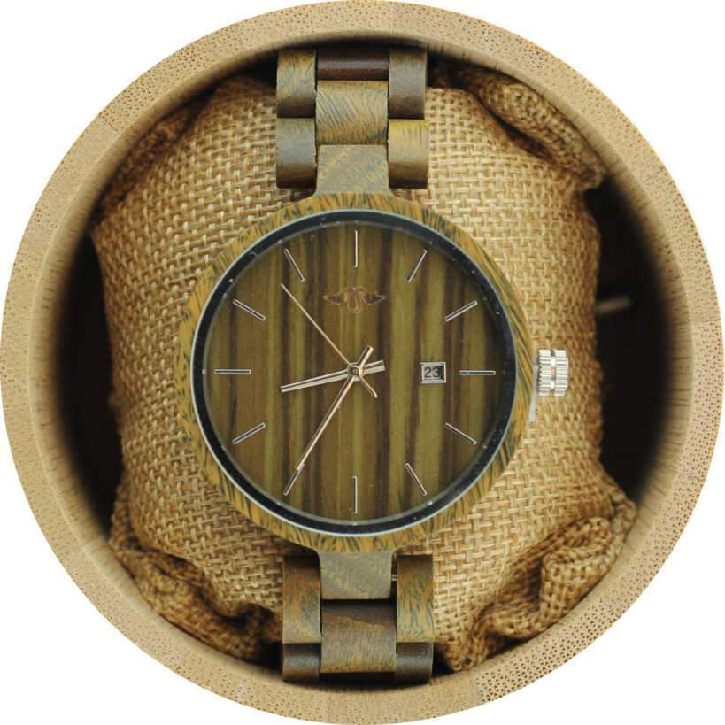Angie Wood Creations Green Sandalwood Unisex's Watch With Matching Bracelet