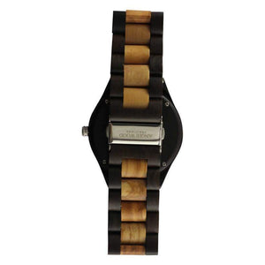angiewoodcreations Wood watch Not Engraved Angie Wood Creations Light and Dark Olive Wood Men's Watch With Silver Hands