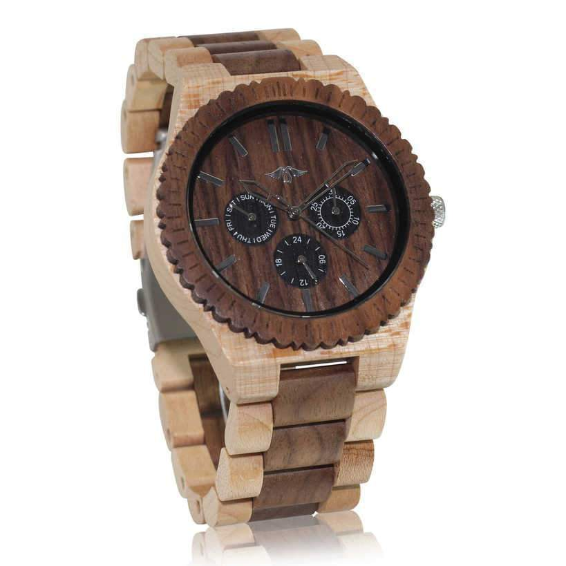 angiewoodcreations Wood watch Not engraved Angie Wood Creations Maple and Black Sandalwood Men's Watch With Sub Dials