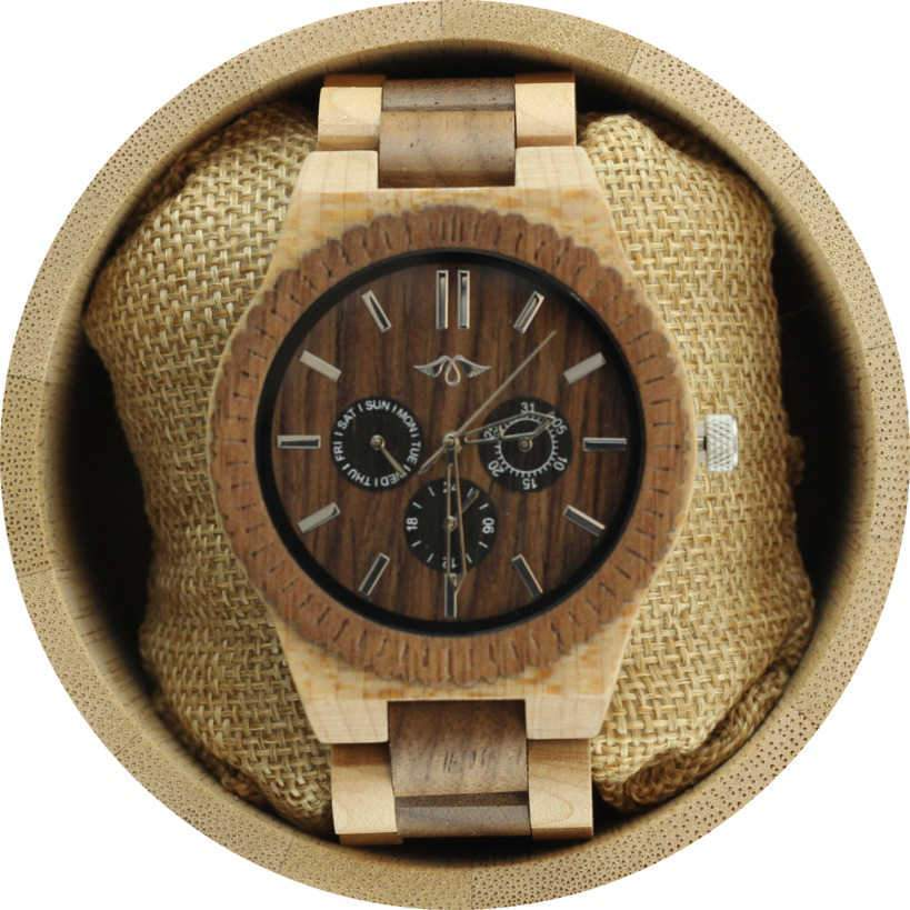 Angie Wood Creations Maple and Black Sandalwood Men's Watch with Sub Dials