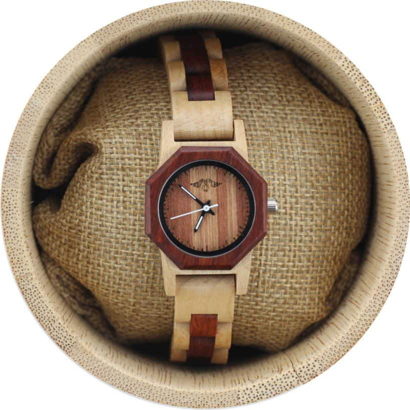 Angie Wood Creations Maple and Sandalwood Women's Watch with Sandalwood Dial