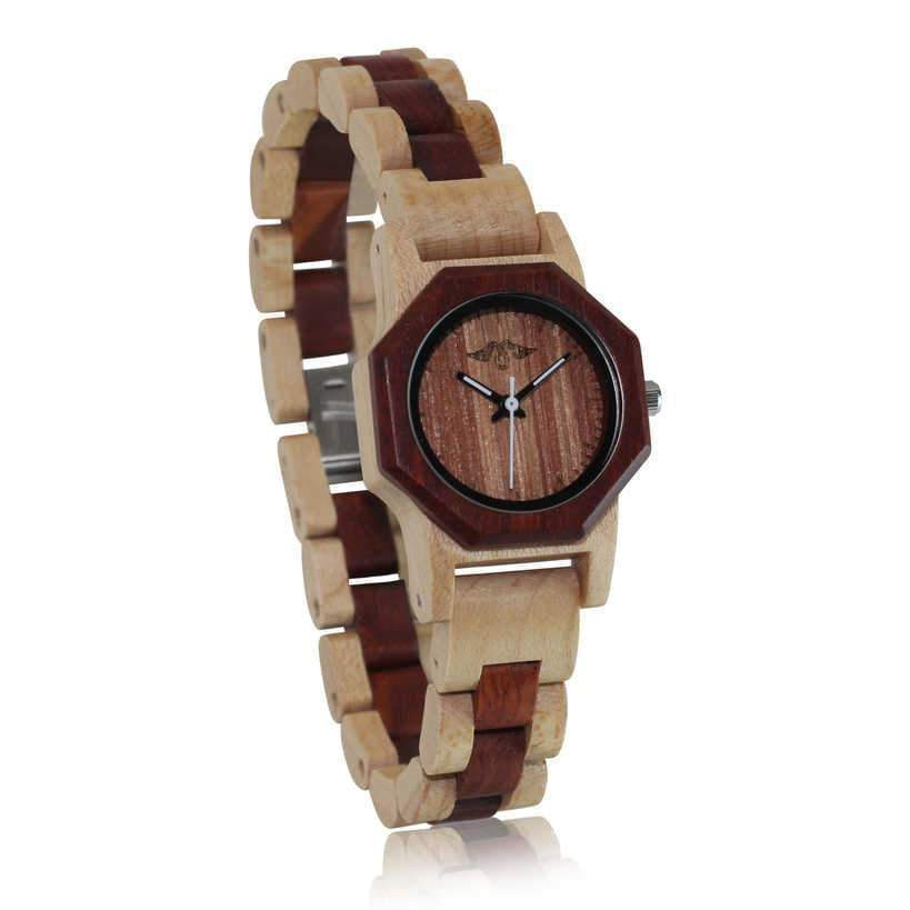 Angiewoodcreations Woman Wooden watch Angie Wood Creations Maple and Sandalwood Women's Watch with Sandalwood Dial