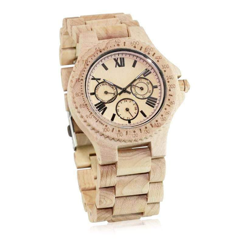 angiewoodcreations Wood watch Not engraved Angie Wood Creations Maple Men's Watch With Maple Bracelet and Sub-Dials