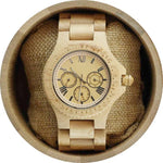 Angie Wood Creations Maple Men's Watch with Maple Bracelet and Sub-Dials