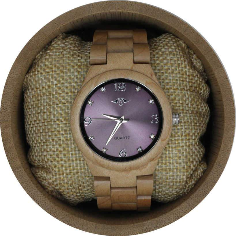 Angie Wood Creations Maple Women's Watch With Maple Bracelet and Purple Dial