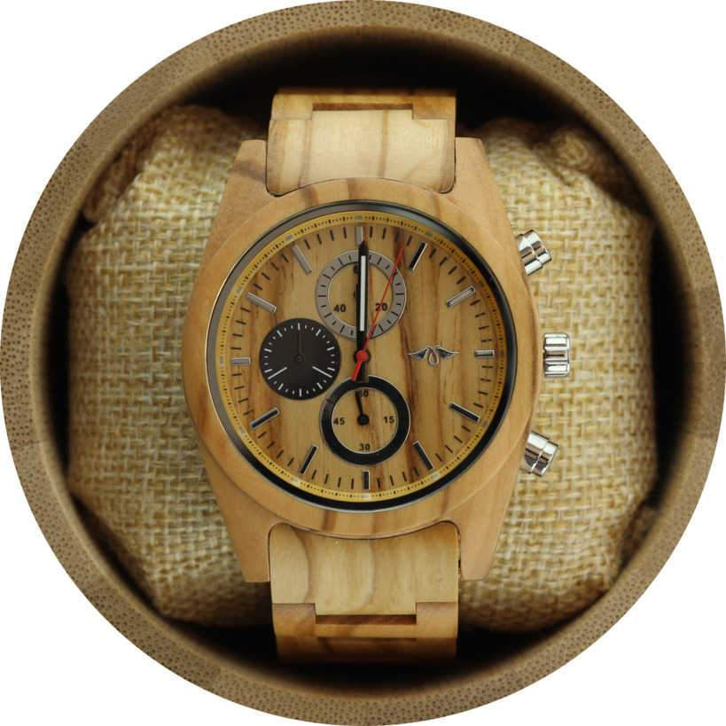 Angie Wood Creations Maple Wood Men's Watch with Maple Wood Bracelet