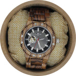 Angie Wood Creations Olive Wood Men's Self Winding Watch With Black Dial