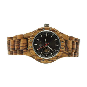angiewoodcreations Wood watch Not engraved Angie Wood Creations Olive Wood Men's Self Winding Watch With Black Dial