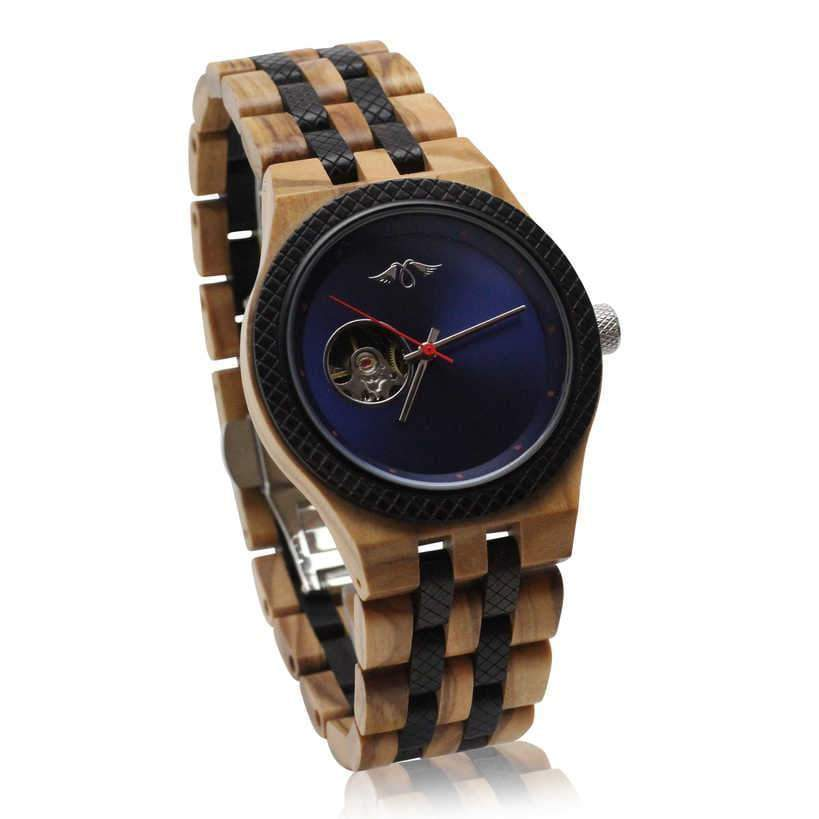 angiewoodcreations Wood watch Not engraved Angie Wood Creations Olive Wood Men's Self-Winding Watch With Blue Dial