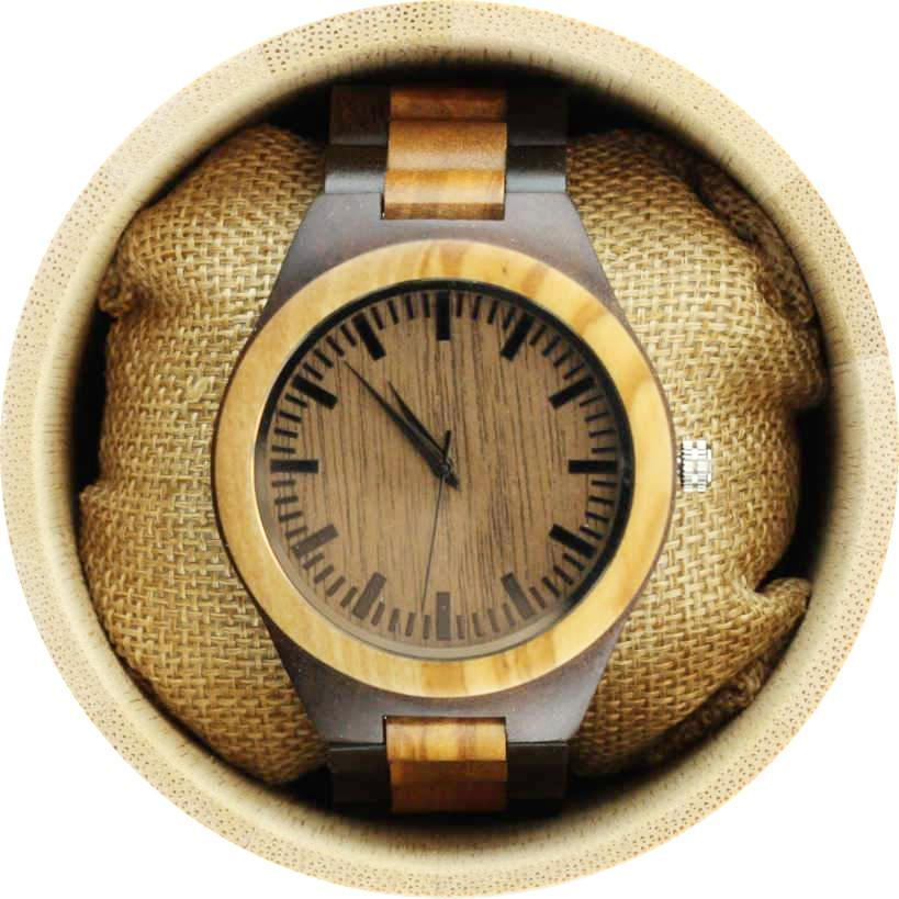 Angie Wood Creations Olive Wood Men's Watch with Olive Wood Bracelet