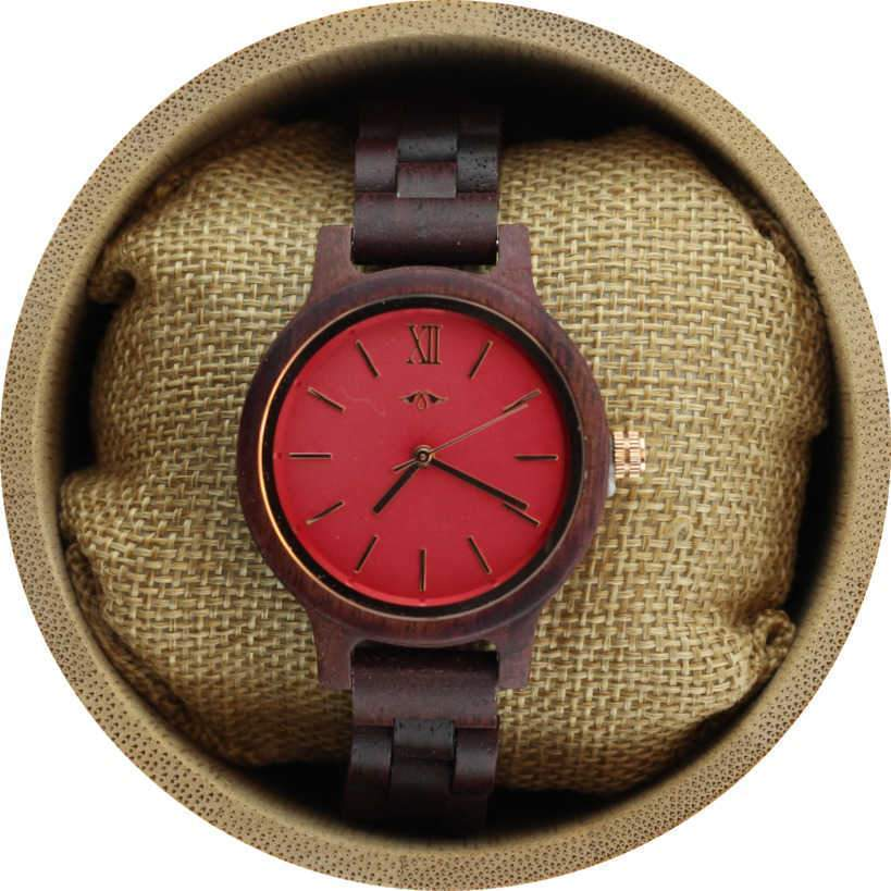 Angiewoodcreations Woman Wooden watch Angie Wood Creations Purpleheart Women's Watch with Pink Dial and Purpleheart Bracelet