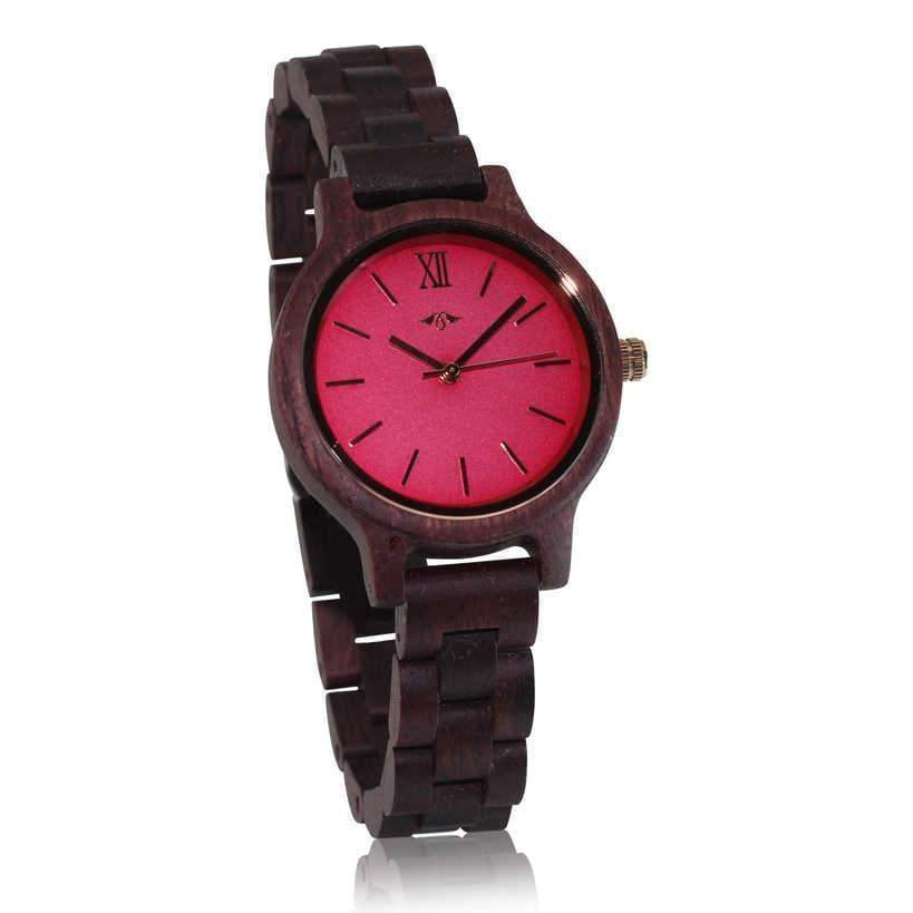 Angiewoodcreations Woman Wooden watch Not engraved Angie Wood Creations Purpleheart Women's Watch with Pink Dial and Purpleheart Bracelet